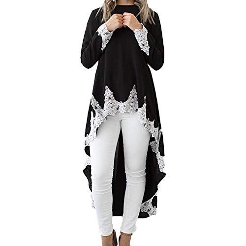 Oliviavan Women's Long-Sleeved Casual O-Neck Pullover Irregular Hem Solid Color Lace Dress