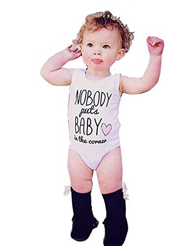 Baby Boy Girl Summer Sleeveless Bodysuit Nobody Put Baby in Corner Printed Romper Playsuit 6-9M White