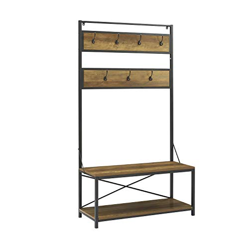 WE Furniture Industrial Metal and Wood Hall Tree in Rustic Oak - 72