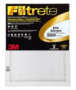 20x25x1 (19.6 x 24.6) Filtrete 2200 Elite Allergen Reduction Filter by 3M (4 Pack) by 3M