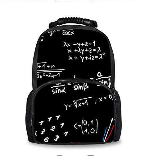 Men and Women Casual Fashion Travel Backpack Mathematical Formulas, Large Capacity and Comfortable Daypack for Camping Hiking Climbing, Multi-function Book Bag, Computer Bag