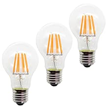 Rowrun E26 LED 8Watts Filament Candle Light Bulb, A60 Energy-Saving Bulb, 60Watts Incandescent Replacement Bulb, E26, 880LM, Warm White(2700K), Non-dimmable, Pack of 3