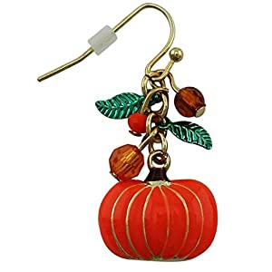 Halloween Orange Pumpkin Charm Drop Dangle Earrings | Seasonal Gold-Plated earrings with Crystal Beads.