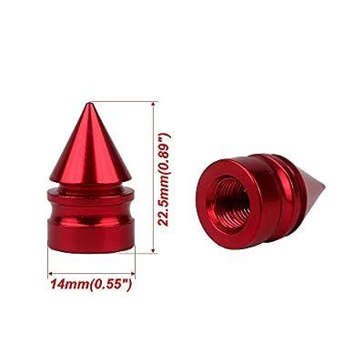 Impale Spike Style Polished Aluminium Alloy Valve Stem Caps, Red Color, 4pcs/Pack: Automotive