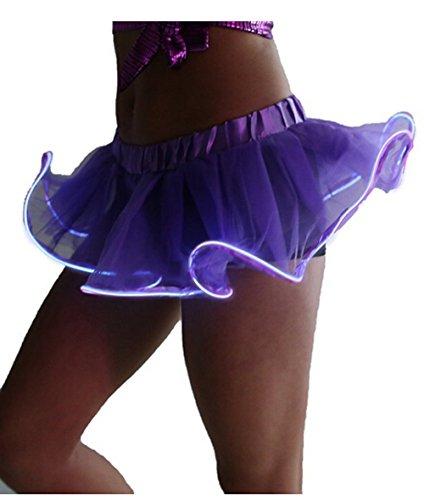 Women Organza Tutu LED Party Dance Skirt Light up Mini Tutu Petticoat -