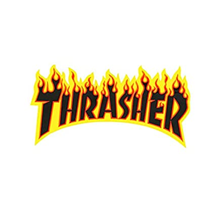 b74753d06fec Thrasher Skateboard Magazine Sticker Flame Logo Large Black 5 quot  ...