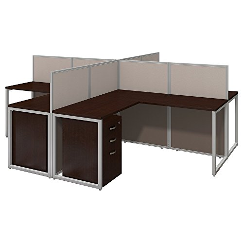 Bush Business Furniture Easy Office 60W 4 Person L Shaped Desk Open Office with Mobile File Cabinets in Mocha Cherry ()