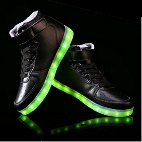 (Present:kleines Handtuch)JUNGLEST® Frauen Männer High Top USB Lade LED leuchten Schuh Blink Schwarz