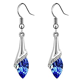 AIUIN Earrings Elegant Silver Plated Dangle Earings with Diamond Pendant Eardrop for Birthday Gift Accessories X 1 Pair