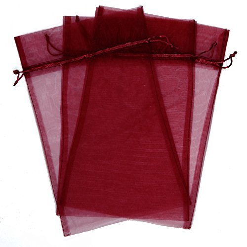 30 Designer Organza Fabric Gift Bags and Gift Pouches Party Gift Bags Red Burgundy 6.75'' x 12'' by Bucasi by Bucasi