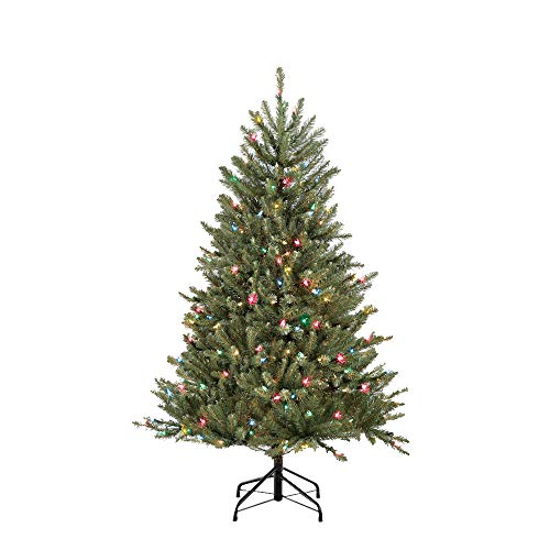 Puleo International 4.5 Pre-Lit Fraser Fir 250 Clear UL-Listed Lights Artificial Christmas Tree Ft, Multi-Color