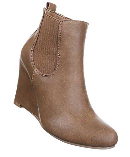 Damen Stiefeletten Schuhe Stretch Keil Wedges Schwarz Hellbraun
