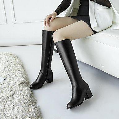 DESY Mujer Zapatos Semicuero Otoño Invierno Botas de Moda Botas Tacón Robusto Dedo redondo Hasta la Rodilla Para Casual Negro Beige black