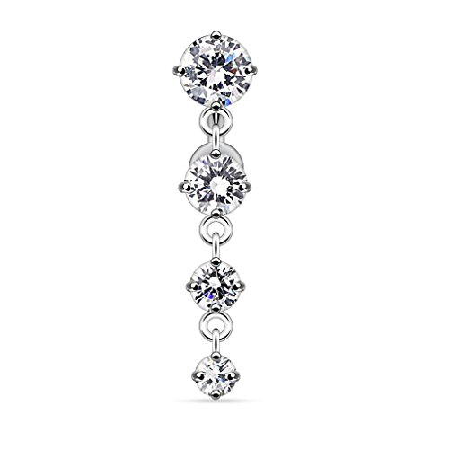 Pierced Owl 4 CZ Crystal Vertical Drop Reverse Dangling Belly Button Ring (Clear)