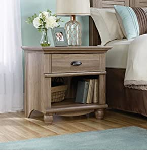1drawer nightstand table end table night stand small organizer storage bedroom home furniture open shelf books decor salt oak