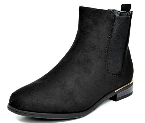 3424aec6bc20 DREAM PAIRS CHESNEY Women's Stylish Low Heel Faux Suede Elastic Side Panel Ankle  Riding Booties Shoes BLACK SIZE 8.5
