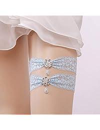 Toyvian 2pcs Blue Wedding Bride Garter for Bridal Crystal Pendant Garter Belt Set Foot Decor (Sky-Blue)