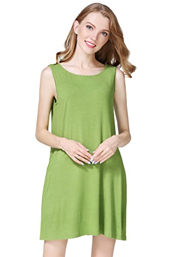 Buenos Ninos Women's Solid Color Loose Fit Casual Swing T-Shirt Dress with Pockets Sleeveless Green S -