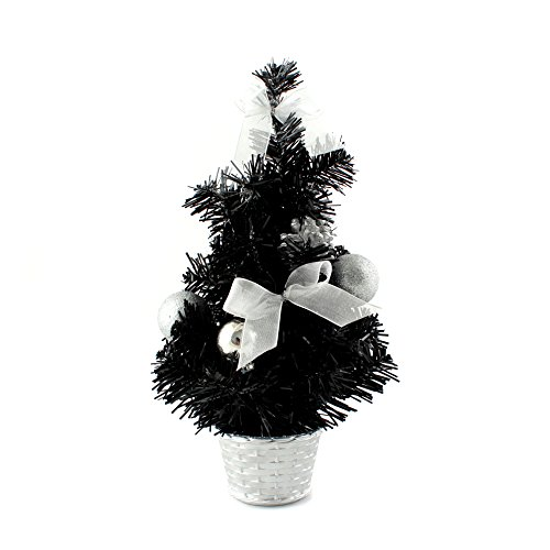 12inch Mini Desk Top Table Top Decorated Christmas Tree with Bows & Baubles Ornaments Decorations, Black