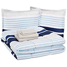 AmazonBasics Kid's Bed-in-a-Bag - Soft, Easy-Wash Microfiber - Full/Queen, Navy Stripes