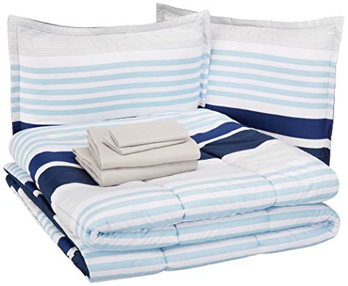 AmazonBasics Easy-Wash Microfiber Kid's Bed-in-a-Bag Bedding Set – Full / Queen, Navy Stripes