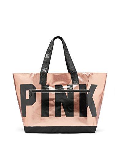Metallic Top Zip Tote - Victoria's Secret PINK New Metallic Tote (Rose Gold)