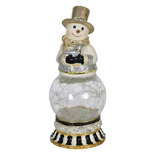 - Exhart Christmas Globe - Snowman Globe w/Bird LED Fireflies Light up on a Timer - Hand Painted Christmas Décor for a Winter Village, Rustic Christmas Fireplace, Farmhouse Christmas Décor (4 x 4 x 9)