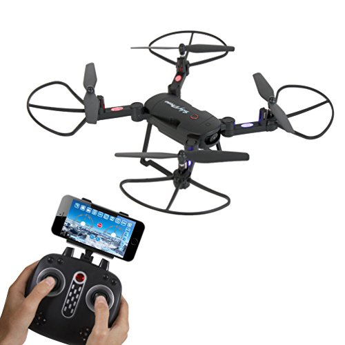 SereneLife Wifi FPV Foldable Drone with HD Camera and live Video. Headless Mode Quadcopter, Altitude Hold, 1-Key Takeoff/Landing, Custom Route Mode, 13 Min Long Flight Time