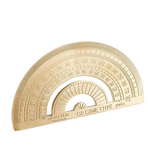 HUIHE Brass Triangle Ruler and Protractor,Vintage Extremely Thick Super Durable for Stationery Math Geometry Gift