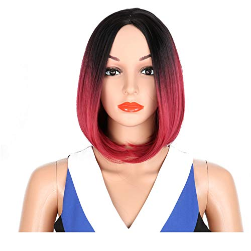 DILINA Ladies Short Natural Straight Wig Bob Style Daily Wear Wig with for Cosplay Halloween Christmas Party Color:Black Gradient Wine Red, Black Gradient Wine red -