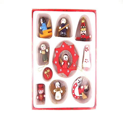 Papá Noel de madera, Juego de 10 Papá Noel, Muñeco de nieve, Ángeles en miniatura Adornos de Navidad de madera Juguete de...