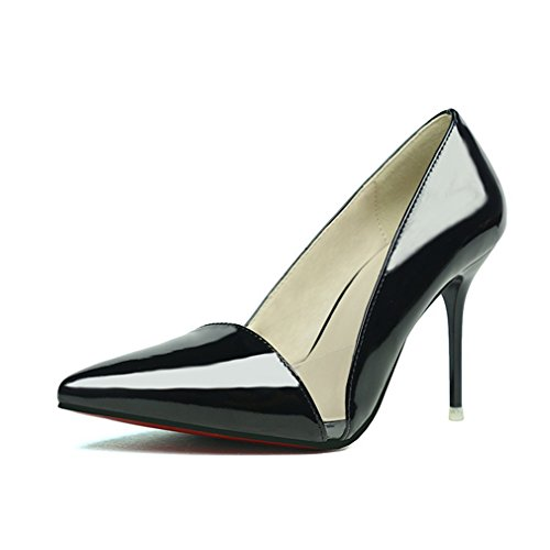 CYBLING Transparent Sexy Pointed Toe Stiletto Heels Dress Pumps for Women Black 9juWH4Th