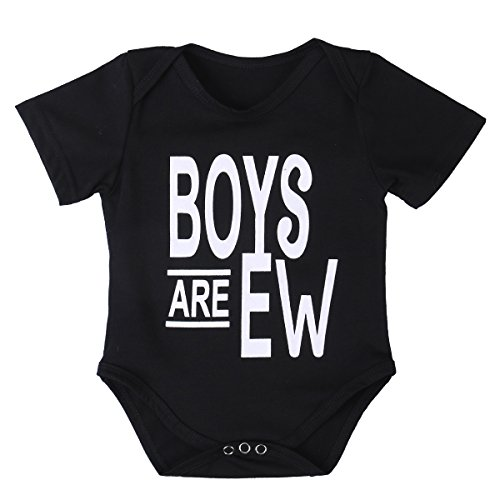 Price comparison product image ONE'S Newborn Infant Baby Boys Black Color Short Sleeve Bodysuit Romper Outfits (6-12 Months,  Black)