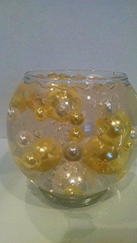 JellyBeadZ Brand Easy Elegance Yellow and White Pearl Beads Including Clear JellyBeadZ Great for Wedding Centerpieces and (Easy Centerpieces)