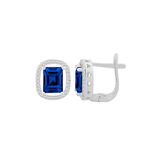 Sterling Silver Cubic Zirconia Elegant Rectangular Shape Leverback Earring With Center CZ Colored Stone Stud (Blue, sterling-silver)