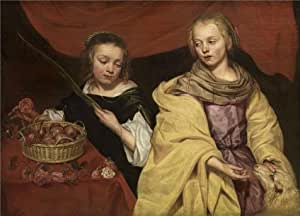 Linen Canvas ,the Replica Art DecorativeCanvas Prints of oil painting 'Michaelina Woutiers,Two Girls as Saints Agnes and Dorothea,ca.1620-1682', 18x25 inch / 46x64 cm is best for Hallway decor and Home artwork and Gifts