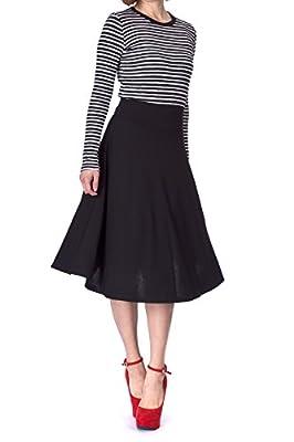 Dani's Choice Stretch High Waist A-line Flared Long Midi Skirt