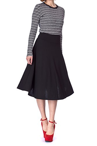 Dani's Choice Stretch High Waist A-line Flared Long Skirt (S, Black) (Flare Tweed Skirt)