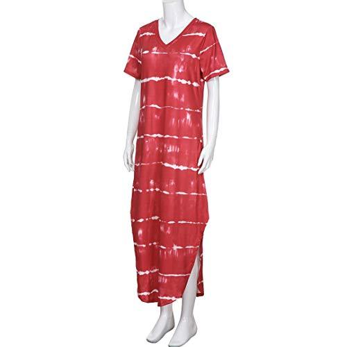 Strisce vestito Split Corte Caviglia Lungo Lqqstore Sexy Da donne Tasca Casuale Donna A collo Con Lunghezza Rosso Sciolto Di Orlo Maniche Irregolare V Abito Spiaggia 0vwvdz