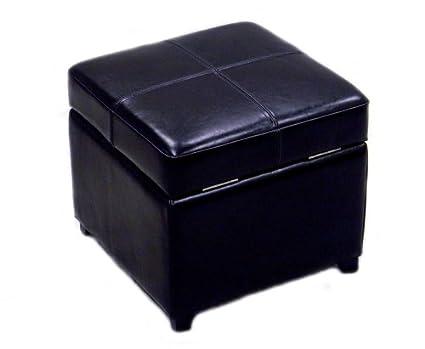 Magnificent Baxton Studio Full Leather Square Storage Ottoman Black Unemploymentrelief Wooden Chair Designs For Living Room Unemploymentrelieforg