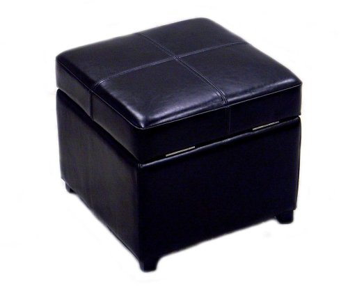 Baxton Studio Full Leather Square Storage Ottoman, Black - Full Bycast Leather Ottoman