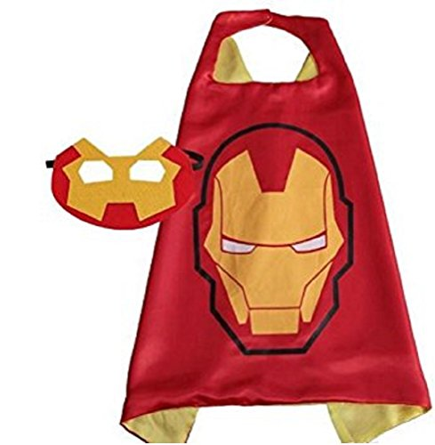 Kzoo Warehouse Superhero Iron Man Cape and Mask Costume Set for Boys Kids Age 2-10 Dress Up Birthday Party Halloween (Iron (Iron Man Boy Costume)