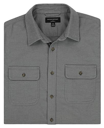 - Banana Republic - Men's - Standard Fit Brushed Cotton Blend Shirt (Multiple Color/Size Options) (Medium, Light Grey)