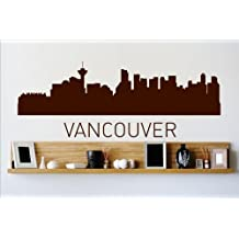 Vinyl Wall Decal Sticker : Vancouver Skyline City View Beautiful Scene Landmarks, Buildings & Water Bedroom Bathroom Living Room Picture Art Peel & Stick Mural - Discounted Sale Price Size: : 10 Inches X 36 Inches - 22 Colors Available