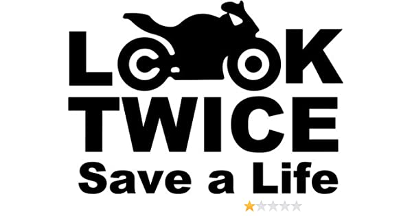 Look Twice Save A Life Motorcycle Home Decor Car Truck Window Decal Sticker