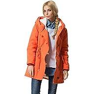 Gopeak Fashion Mid Long Coat,Women Solid Hooded Jacket Lambswool Cotton Coat Thicker Outwear Coat