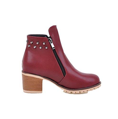 Boots Solid Round Women's Heels PU Red Kitten Zipper AgooLar Toe Zqxw7Swp