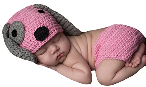 Melondipity's Pink and Gray Puppy Dog Hat and Diaper Cover Set - Newborn Girls