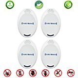 Ultrasonic Pest Repeller (4 Pack), Electronic- Plug in, Reject Insect, Rodent, Mosquito, Cockroach, Spider, Rat, Ant, Mice, Mouse, Bed Bugs Control Defender, Safe for Kids & Pets
