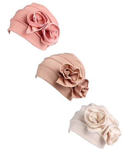 MTFS Women Ruffle Chemo Turban headband Beanie Cap Hat for Cancer Patient (3 Color Pack-a) by MTFS